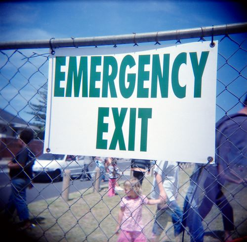 emergency exit, with ghost